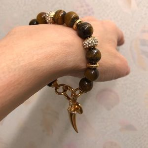 HENRI BENDEL Tiger's Eye & Crystal Bracelet